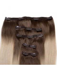 Seamless1 Clip - in Human Hair Extensions - Coffee n Cream - 5pc Set