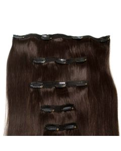Seamless1 Clip - in Human Hair Extensions - Dark Chocolate - 5pc Set
