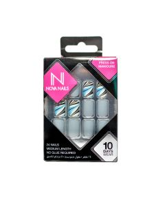 Nova Nails PreGlued Nail Tips matte marble grey 24pcs
