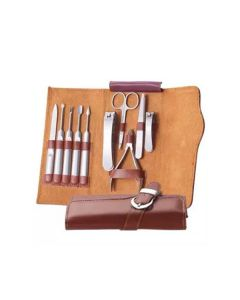 Vibe Professional Stainless Steel 10pcs Nail Tools Set - Tan Brown