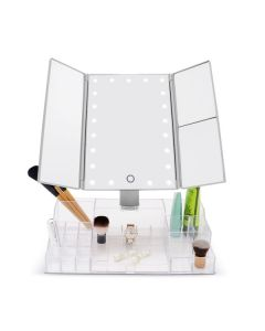 JYD LED Lighted Makeup Mirror with Acrylic Organizer Silver