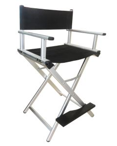 Masters Professional Foldable Professional Makeup Artist Chair with Headrest Black / Silver