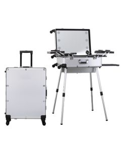 Masters Professional Make-Up Portable Station Silver With Trolley Option